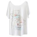 Cup&Bunny Print White Tee