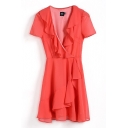 Plain Ruffle Hem Short Sleeve V-Neck Gathered Waist Dress