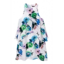 Floral Print Ruffle Hem Zipper Tank Dress