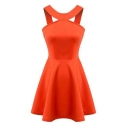 Orange Round Neck Sleeveless Cutout Style Sexy A-line Dress