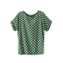 Roll Cuff Short Sleeve Round Neck Polka Dot Green T-Shirt