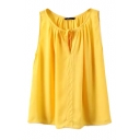 Yellow Bow Detail Pleated Round Neck Blouse