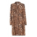 Long Sleeve Brown Leopard Pattern Chiffon Shirt Style Dress