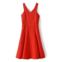 Plain V-Neck Ruffle Hem Zippered Tank Dress