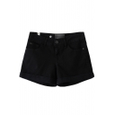 Black Cuffed Hem Plain Loose Shorts