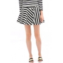 Mono Striped Pleated Mini Skirt