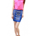Blue Beaded Fitted Mini Pencil Skirt