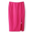 Fuchsia Plain Split Hem Midi Pencil Skirt