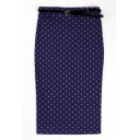 Navy Belted High Waist Polka Dot Pencil Midi Skirt