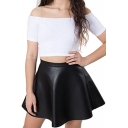 Black High Waist PU Skater Skirt