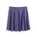 Purple Floral Print Mid Rise Ruffle Hem Skirt