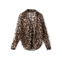 Leopard Print Long Sleeve Loose Chiffon Blouse