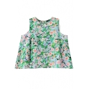 Green Round Neck Floral Chiffon Blouse