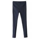 Plain Elastic Fitted Skinny Pants