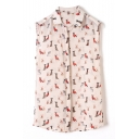 Pink Sleeveless Dog Print Lapel Chiffon Blouse