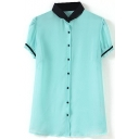 Green Short Sleeve Jacquard Single Breast Chiffon Blouse