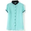 Green Short Sleeve Jacquard Single Breast Chiffon Blouse