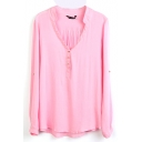 Pink V-Neck Long Sleeve Button Top