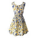 Yellow&Blue Geometry Pattern Print Dress