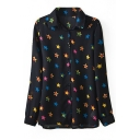 Black Long Sleeve Stars Print Fitted Blouse