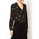 Black Bird Print Long Sleeve Pocket Chiffon Blouse