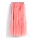 Watermelon Double Mesh Layer A-line Tea Length Skirt