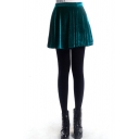 Dark Green A-line Pleuche Skirt