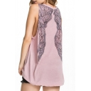 Pink Vintage Wings Back Loose Tunic Tank