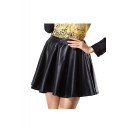 Black Ruffle Hem Elastic Waist PU Skirt