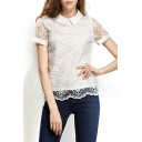 White Short Sleeve Lace Floral Crochet Chiffon Blouse
