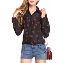 Red Lips Print Long Sleeve Chiffon Shirt