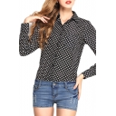 Lapel Long Sleece Polka Dot Print Chiffon Shirt