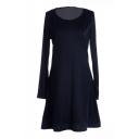 Dark Blue Slim Concise A-line Mini Dress