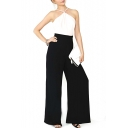 Color Block Strap Open Back Wide Leg Jumpsuits