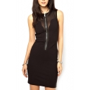 Black Mesh Sheer Sleeveless Zipper Dress