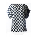 White Plaid Print Chiffon T-Shirt  with  Short Sleeve