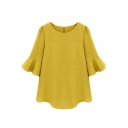 Yellow 1/2 Ruffle Sleeve Loose Chiffon Blouse