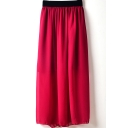 Burgundy Elastic Waist Chiffon Maxi Skirt