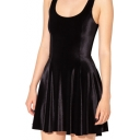 Black Velvet A-line Tank Dress