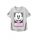 Cute Cartoon Letter Print Zipper Front Detail Tee
