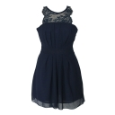 Navy Lace Panel Round Neck Pleated Sleeveless Dress