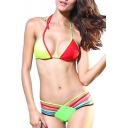 Colorful Halter String Bottom Bikini