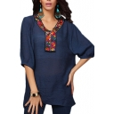 Geometry Ethnic Style Embroidered Neckline 1/2 Sleeve Smock Blouse