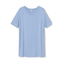 Light Sky Blue Simple Style Short Sleeve Tee