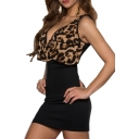 Leopard Ruffle Hem Sleeveless Color Block Mini Dress