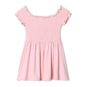 Scalloped Trim Elastic Ruched Boat Neck Pink Mini Dress