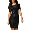 Lace Panel Short Sleeve Black Plain Dress