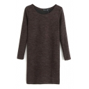 Chocolate Round Neck Long Sleeve Wool Midi Slim Dress