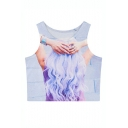 Long Hair Girl Print Fitted Round Neck Crop Tanks