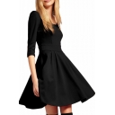 Plain Modern Style Pleated Seam Detail 1/2 Sleeve A-line Dress